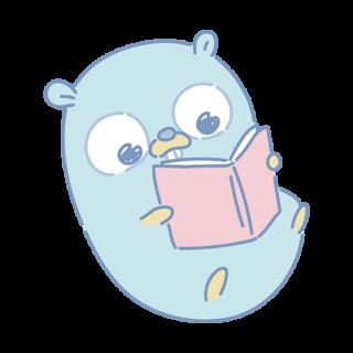 とらラボ×Gopherくんイラスト素材集の「いっぱい読むGopherくん」