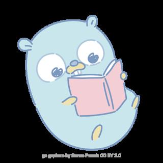 とらラボ×Gopherくんイラスト素材集の「いっぱい読むGopherくん(クレジット付)」