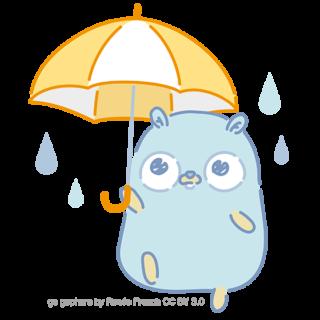 とらラボ×Gopherくんイラスト素材集の「雨とGopherくん(クレジット付)」