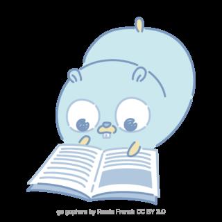 とらラボ×Gopherくんイラスト素材集の「寝ながら読むよGopherくん(クレジット付)」