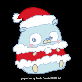 とらラボ×Gopherくんイラスト素材集の「クリスマスGopherくん(クレジット付)」