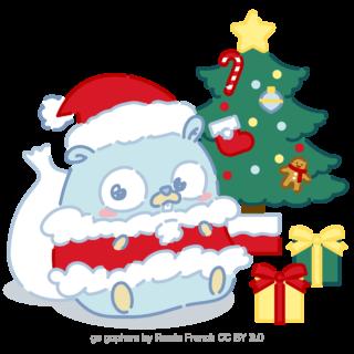 とらラボ×Gopherくんイラスト素材集の「クリスマス当日のGopherくん(クレジット付)」
